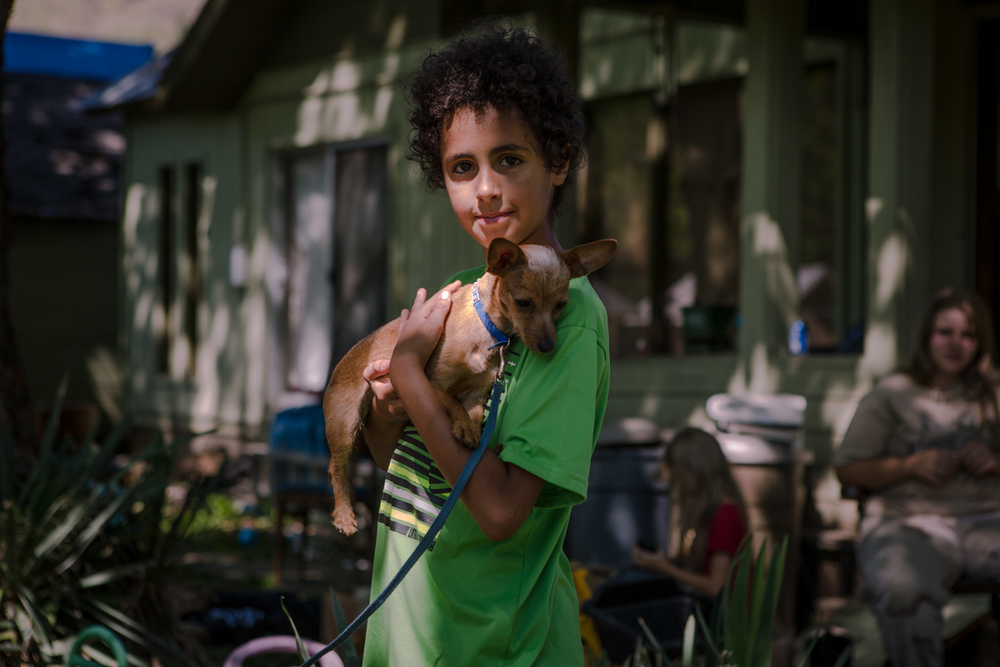 young boy & dog, Kooskia, Idaho