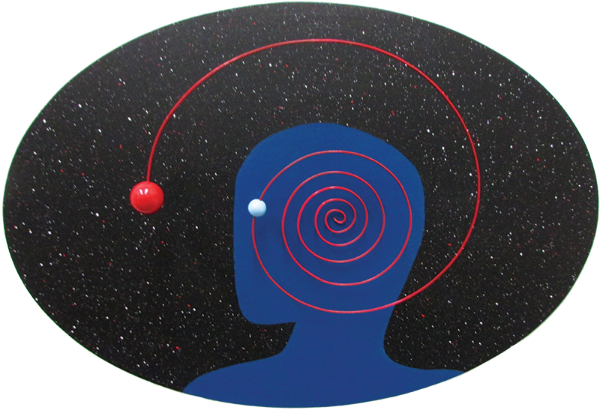 "Cosmic Man, 2013 Mixed media, 18"" x 26"""