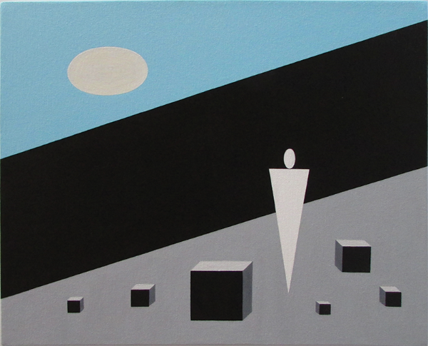"Beyond the Wall, 1994 Acrylic on Canvas, 18"" x 22"""