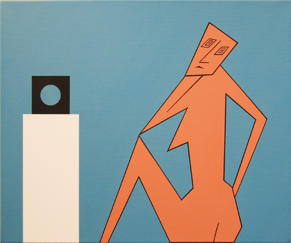 "Cubist Figure with Captured Spirit, 1995 Acrylic on Canvas, 24"" x 28"""
