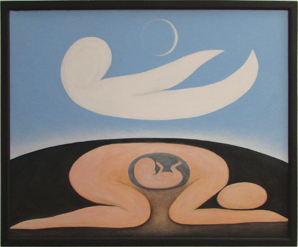 "Mother Earth Father Sky (The Birth of Curvism), 1978 Acrylic on canvas, 29"" x 35"""