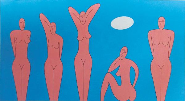 "Curvist Demoiselles, 1995 Acrylic on canvas, 67"" x 122"""