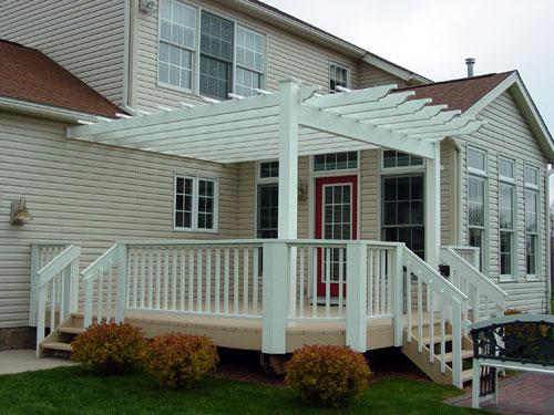 Vinyl Pergola attached to house
