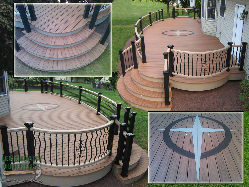 Curved Trex Transcend railing installed by Legendary Builders in PA.