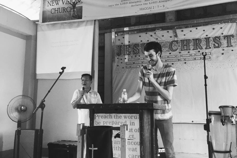 Nathan sharing at New Vision Church.