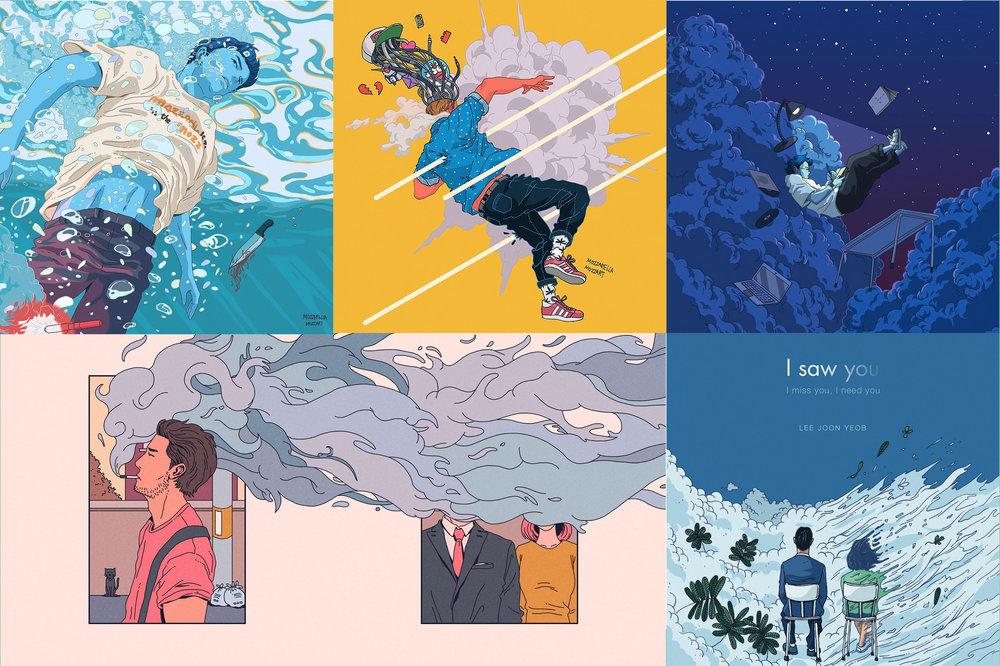 Some of Illustrator Mozza's previous work