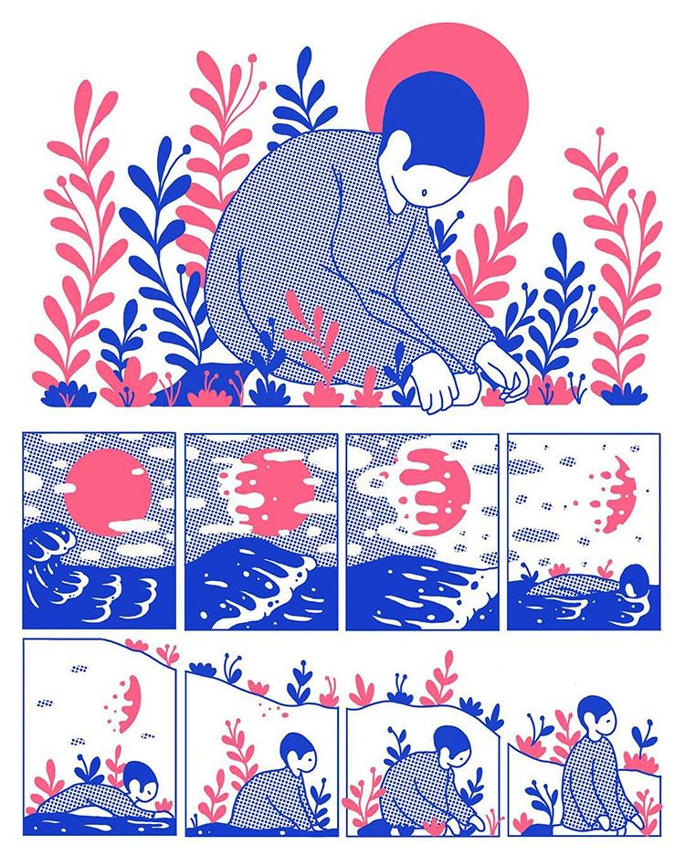Beautiful illustration work from Evan M. Cohen's comic, Reflect.