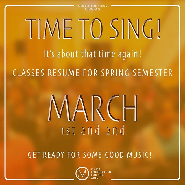 It's about that time again! Classes are about to begin for the new year and #SpringSemester! #GETREADY!! #Harlem #HarlemEducation #GoodMusic #GospelForTeens #GospelForTeensProgram #HarlemMusicSchool