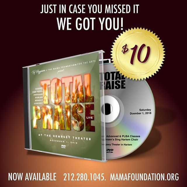 "Just in case you missed our sold out concert ""Total Praise"" featuring @singharlem here's your chance to experience!!!! Get your copy today! Call 212.280.1045 #GFTTotalPraise"
