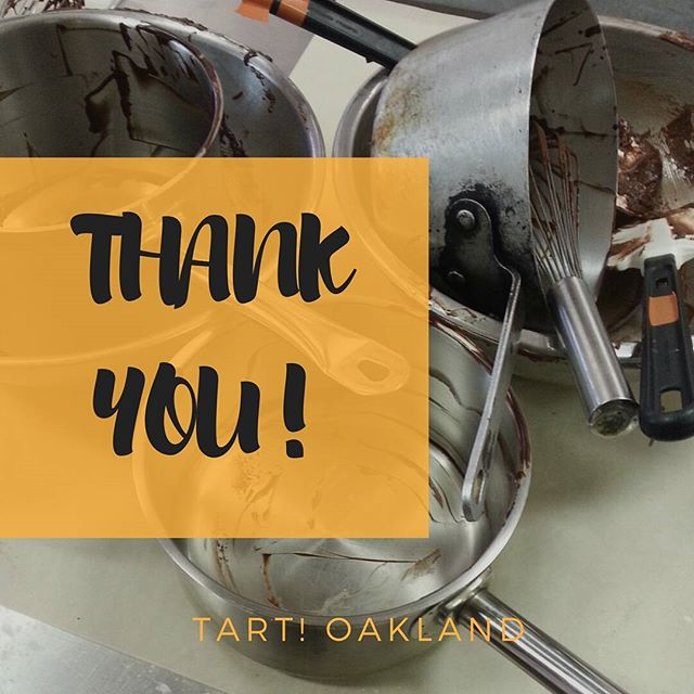 """I want to say a big THANK YOU to all of my customers, clients and supporters. The last few years have been full of opportunities for growth and learning, but upon some deep personal reflection, I have decided that now is the right time to take a bit of a sabbatical (or hiatus or """"break"""" if you will) from baking. It is time to take a breather and re-focus on the things the Universe has put on my plate and the opportunities that have yet to reveal themselves. Now the question remains, will TART! Oakland re-emerge from this self imposed """"time off""""? As a famous Tamale Girl once said #neversaynever.  #whataride #mycustomersrock #trulygrateful"""
