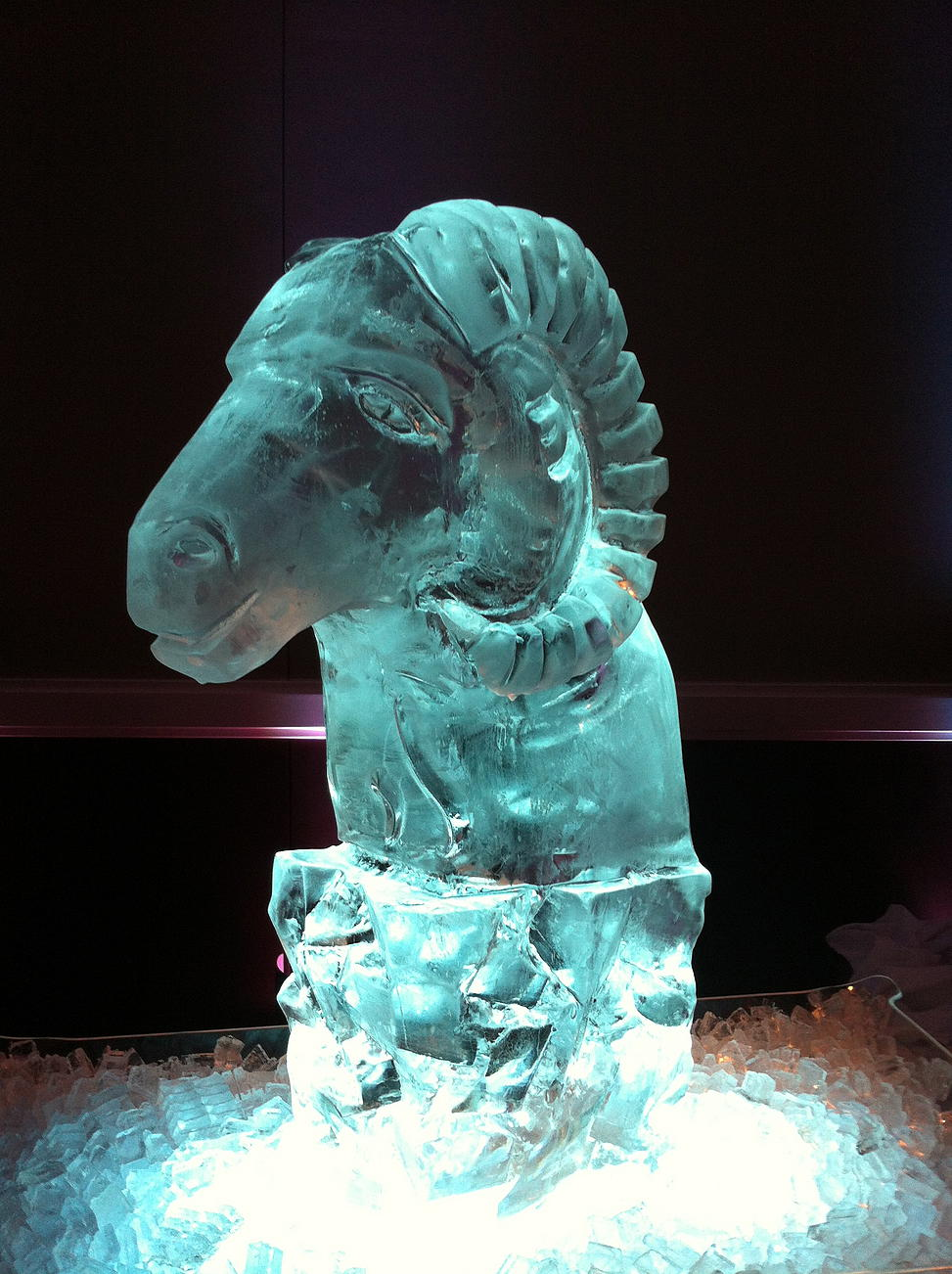 Ram head ice sculpture