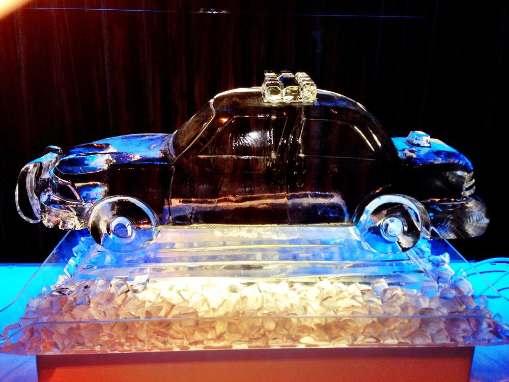 Cop car ice sculpture