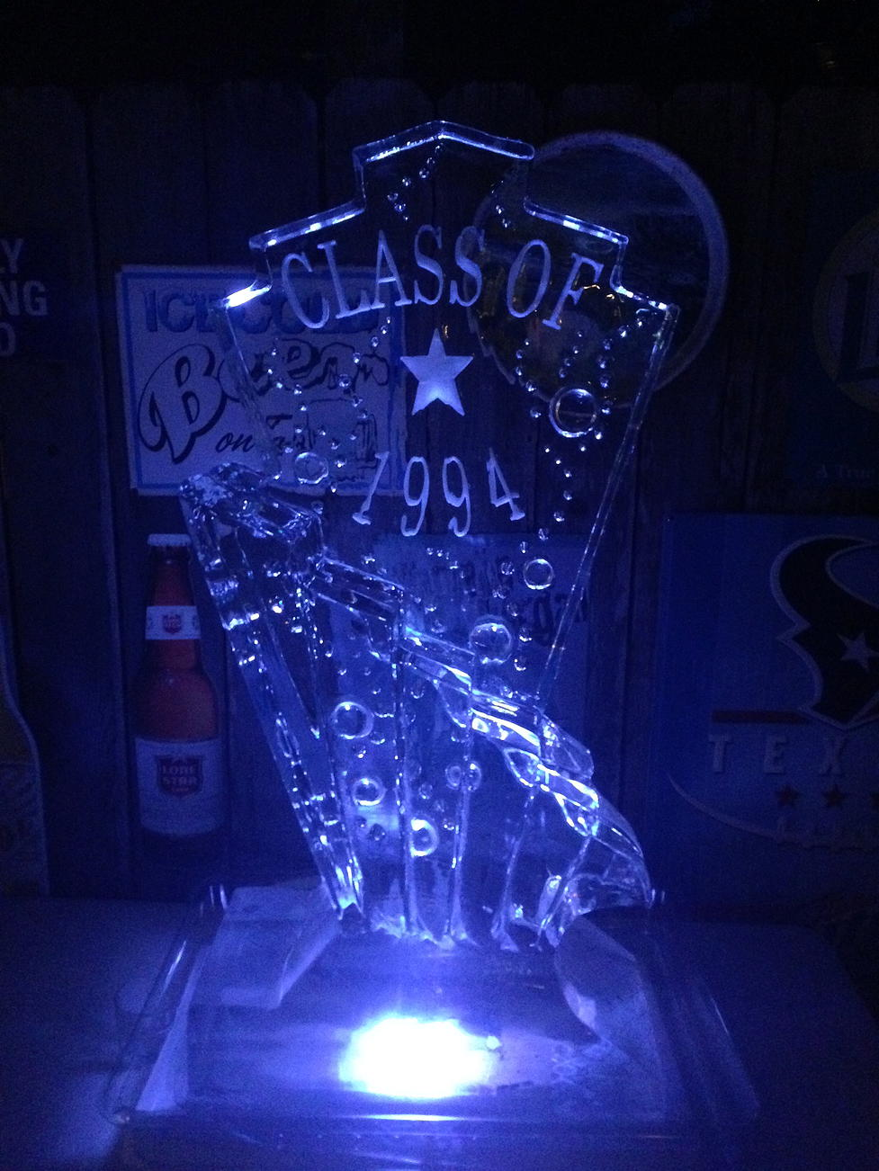 Art deco ice luge with logo