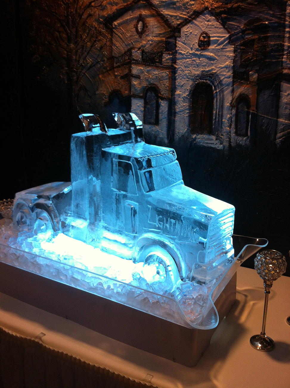 Diesel ice sculpture