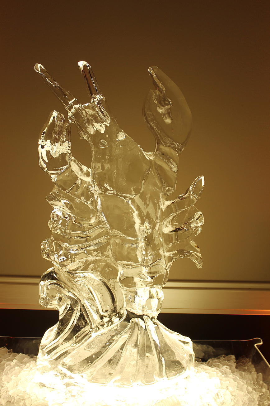 Lobster ice sculpture