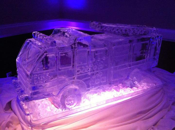 Fire truck ice sculpture