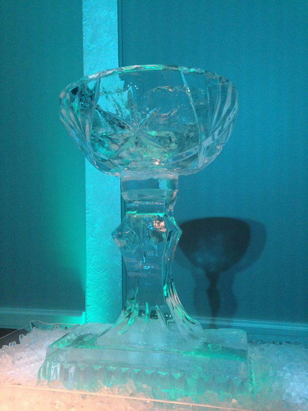 Champagne glass ice sculpture