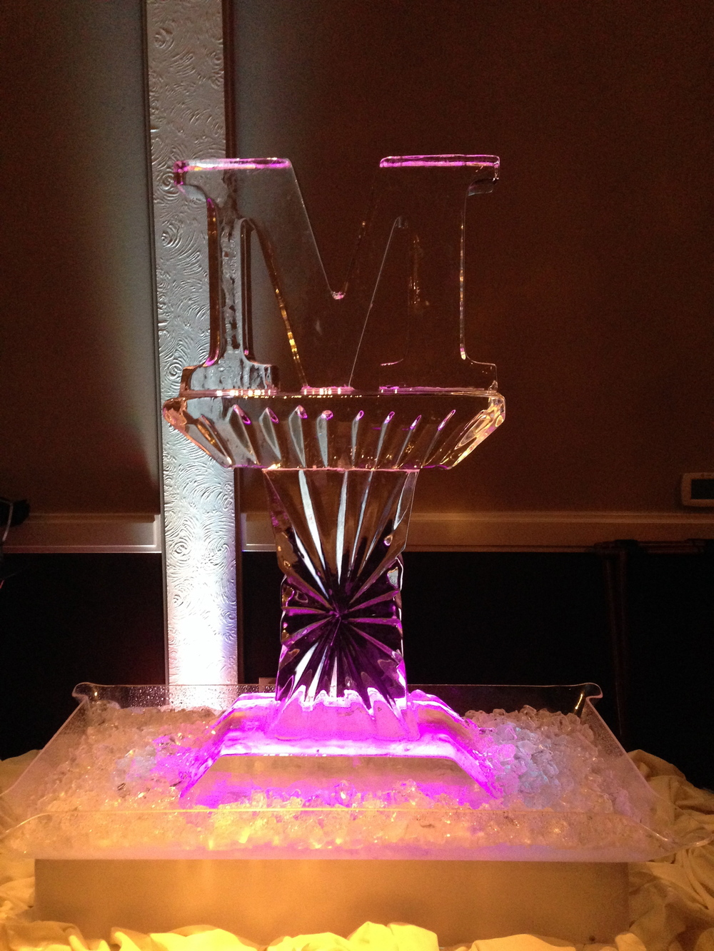 Letter M ice sculpture