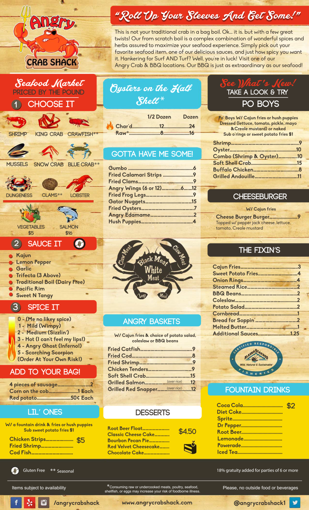 Angry Crab Shack - Mesa - Menu