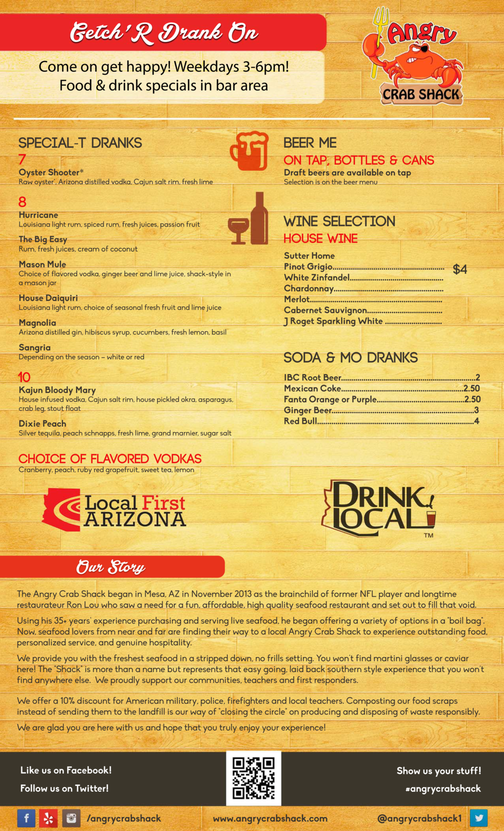 Angry Crab Shack - Mesa - Beer Wine Menu