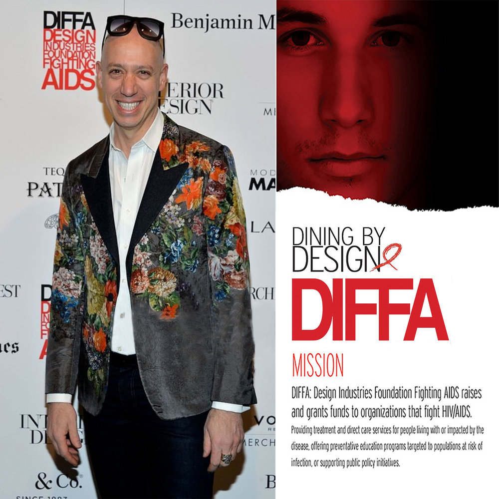 DIFFA  - Design Industries Foundation Fighting AIDS raises and grants funds to organizations that fight HIV/AIDS. Providing treatment and direct care services for people living with or impacted by the disease, offering preventative education programs targeted to populations at risk of infection, or supporting public initiatives. Robert Verdi supports DIFFA/Dining By Design NY through Sponsorship and Design.    http://diffa.org/