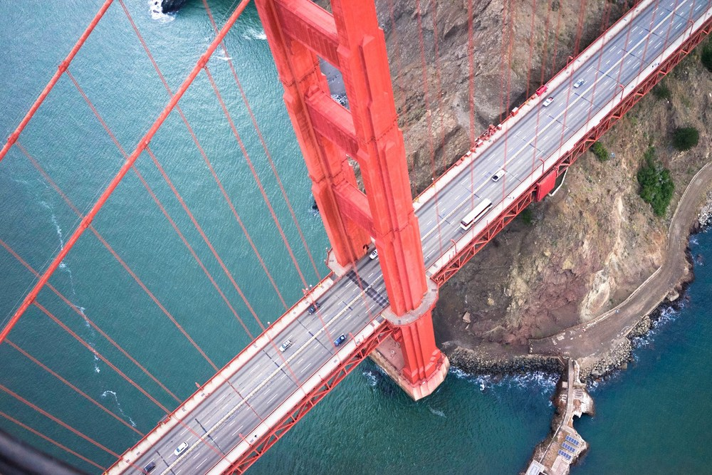 Helicopter ride above Golden Gate Bridge