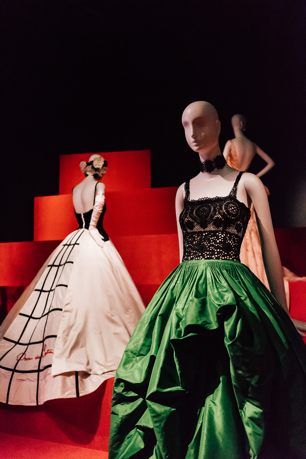 On the left, is a gown worn by Sarah Jessica Parker to MET's Gala in 2014