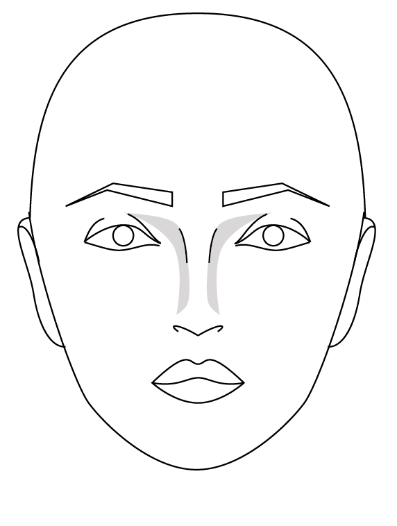3:  Lightly shade at nose bridge as above