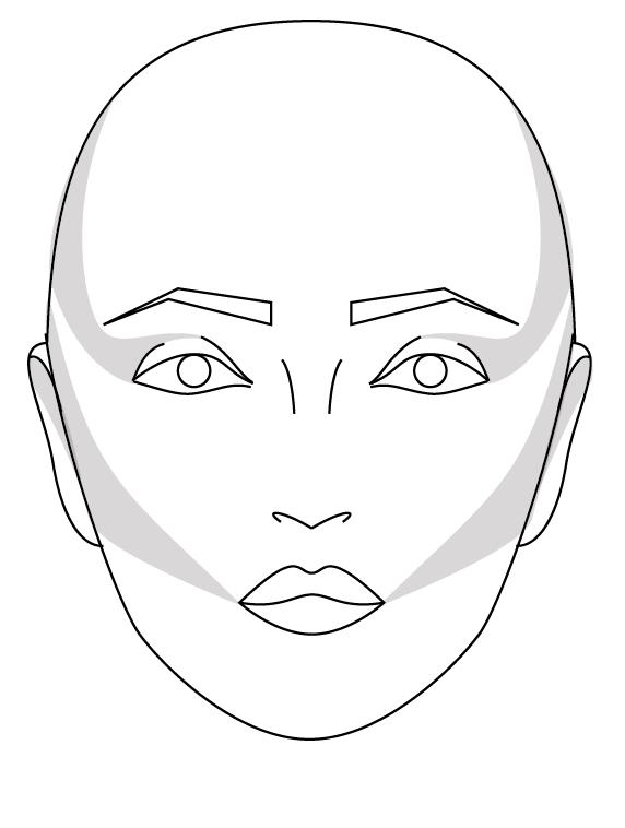 2:  Lightly shade skull at tempels, eyelids, and cheekbones as above.