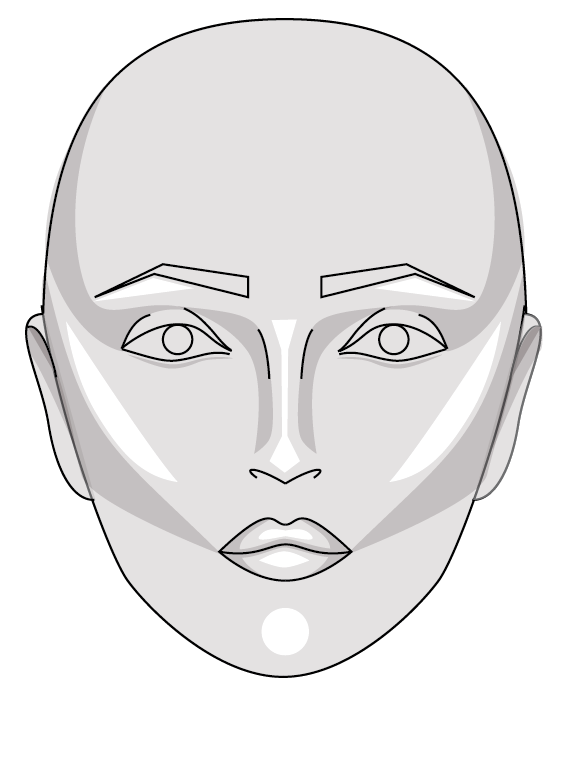 6:  Optional: add highlight by lightly erasing in areas marked in white. See close up of lips below