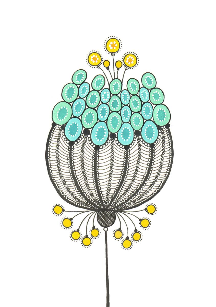 Blumengarten illustration 'Fruehling Blau'