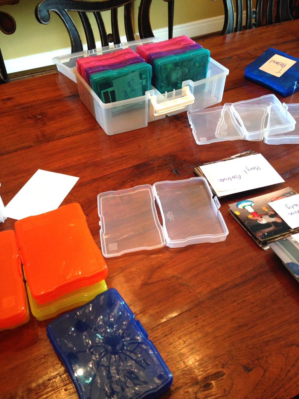 Placing photos into mini boxes