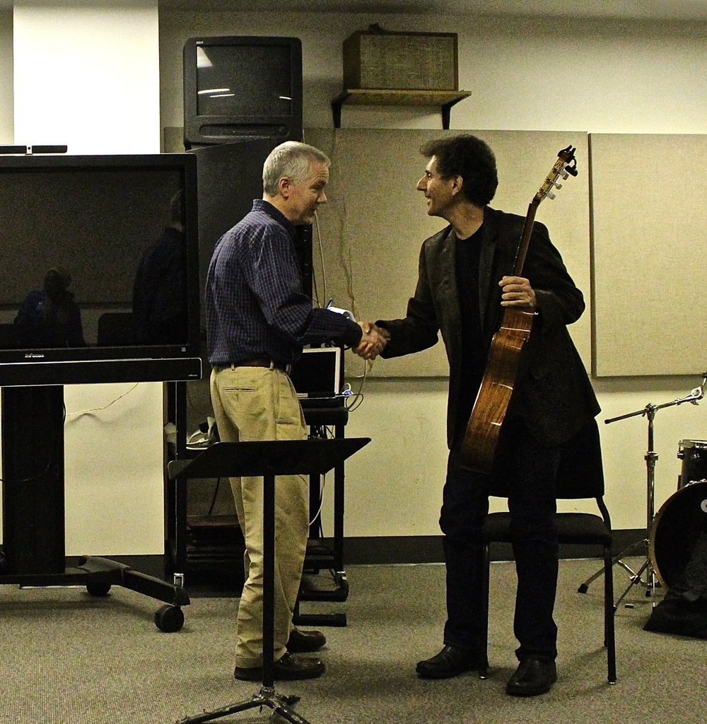 Brazilian Guitar Workshop at Georgia State University / Greeting Dave Frackenpohl,  head of the Jazz Guitar Program and a fine musician.