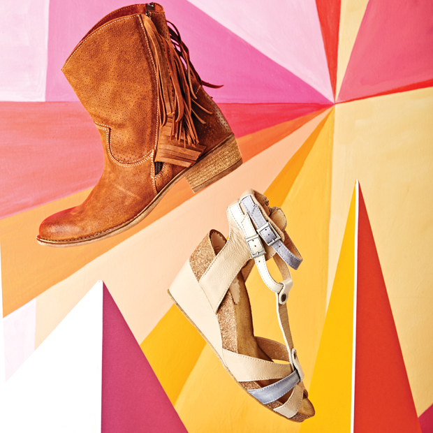 Pictured here is our brown fringe boot $129 and summer wedge sandal $89.99