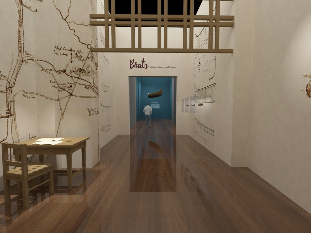 Visitors walk into a room surrounded by walls with Adney's sketches. The floor is glossy wood, which shows reflection of the environment, like water. On one side of the room, there is a desk dressed like Adney has been working on his research. Second half of the room displays the boad models built by him.