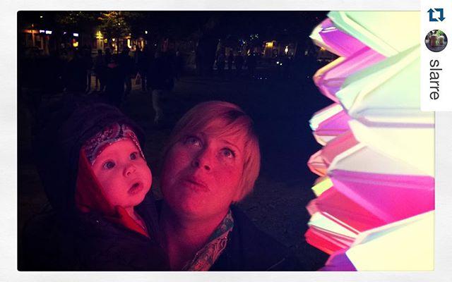 Fantastic picture taken by @slarre of Demovision by MakerCampLights during Lights in Alingsås.  #Demovision  #MakerCampLights  #barnenslights ・・・ Mina flickor beundrar installationerna i #lightsinalingsås