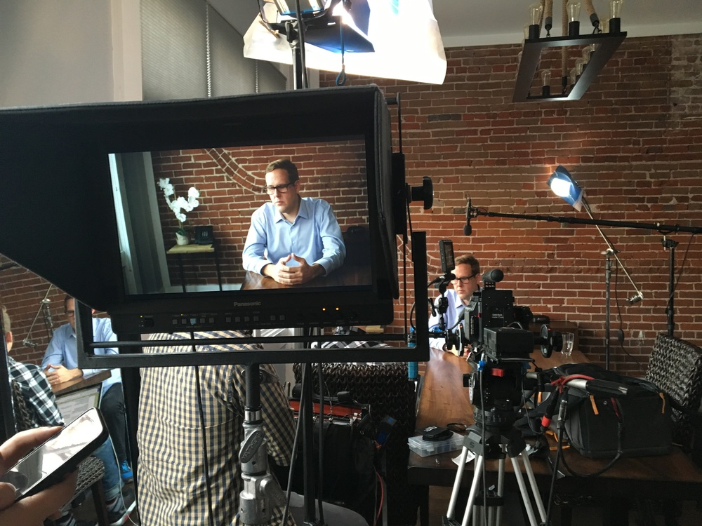 Our CEO, Jason Riggs, preparing for his close up. You may recognize this scene from the very beginning of our Kickstarter video.