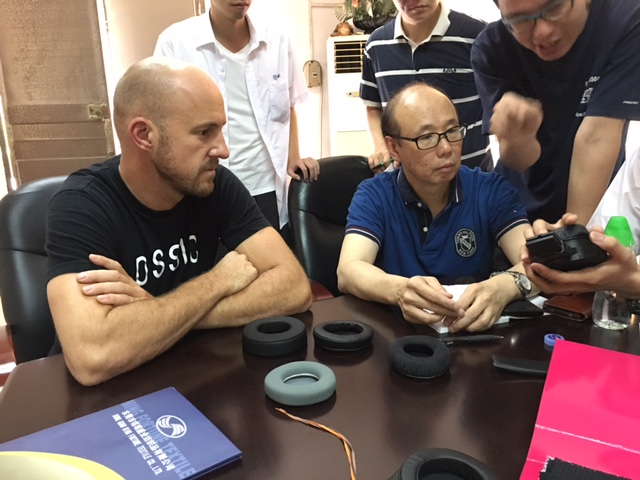 Dave (founder), working with our partner-manufacturer on the OSSIC X.