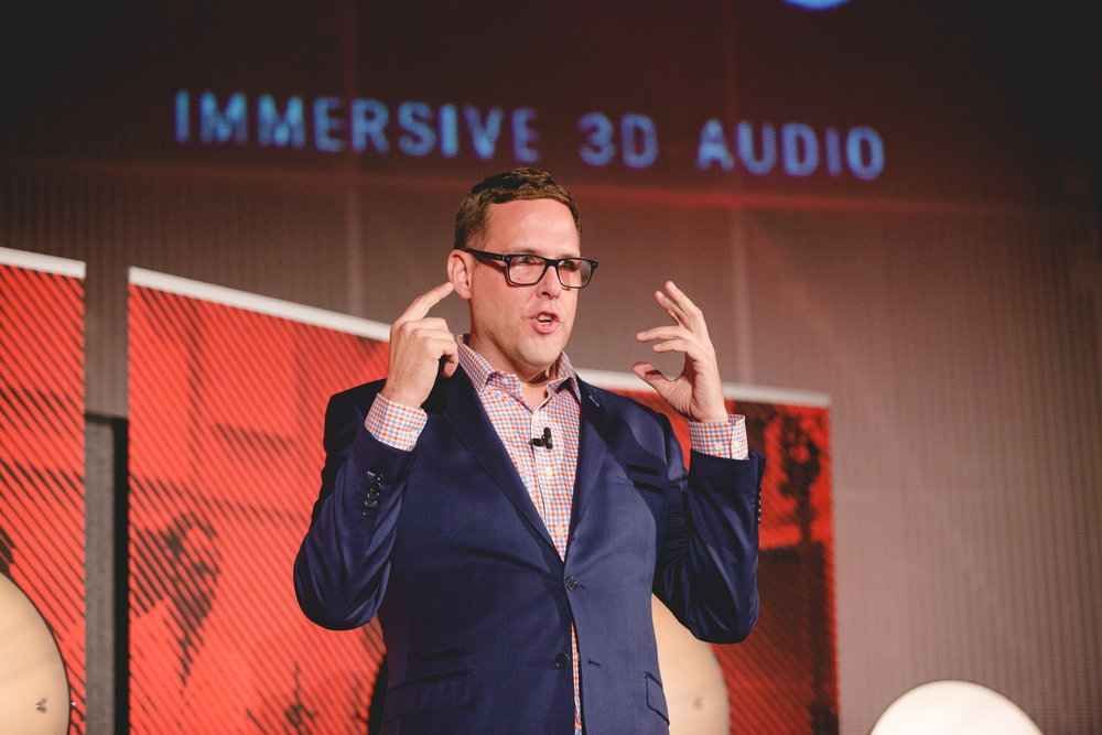 CEO Jason Riggs explaining 3D audio concepts at an Abbey Road Red event