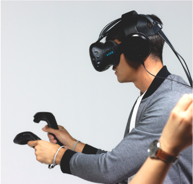 OSSIC X seen with HTC Vive. Our subjective testing in VR is used to measure 3D audio accuracy.
