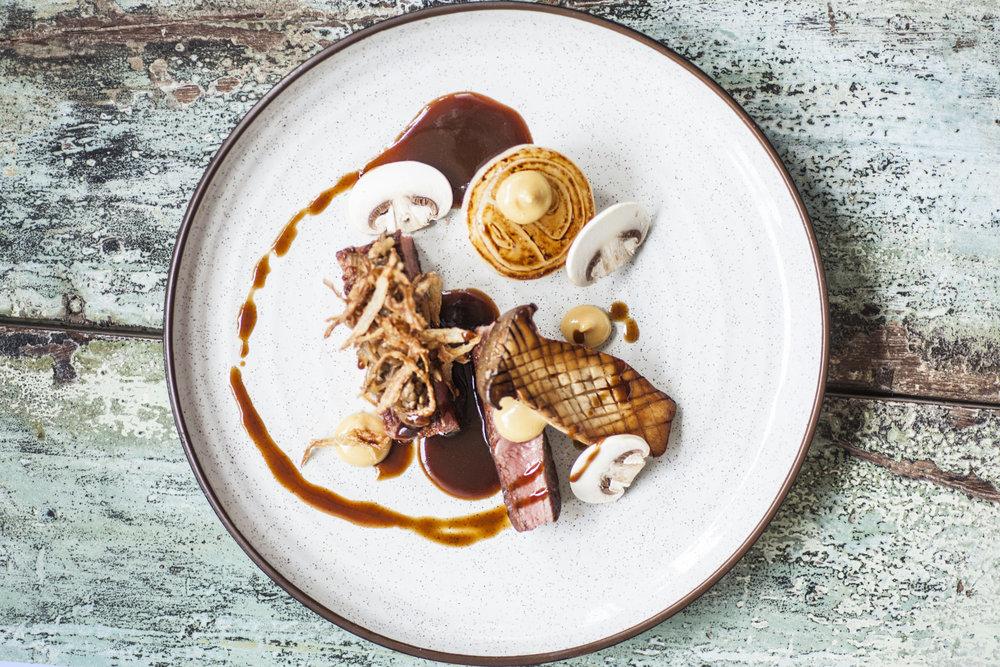 Sirloin Steak, Onion 3 ways, Mushroom 3 ways
