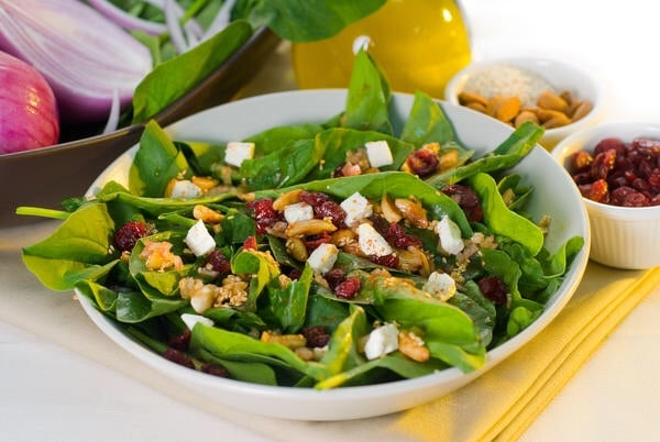 Salads don't have to be boring. Spice it up with nuts, seeds, fruits, and vinaigrette dressings!