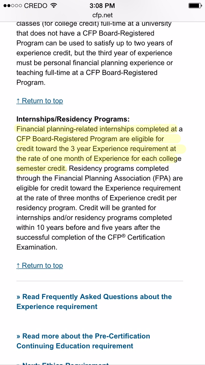 Clarifying The Cfp Certification Experience Rules For An Internship