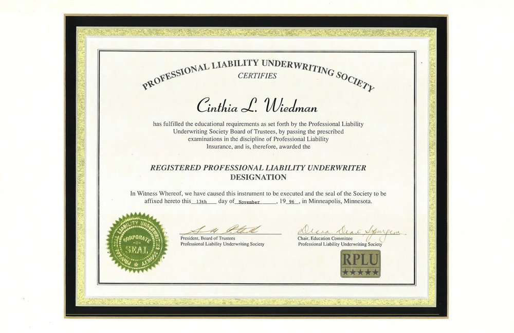 Registered Professional Liability Underwriter Designation for Cindy Wiedman