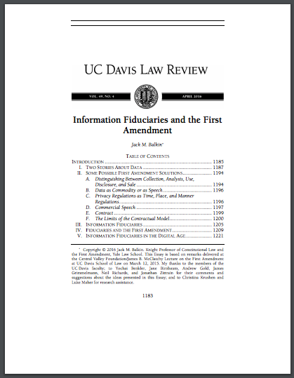 Information Fiduciaries and the First Amendment
