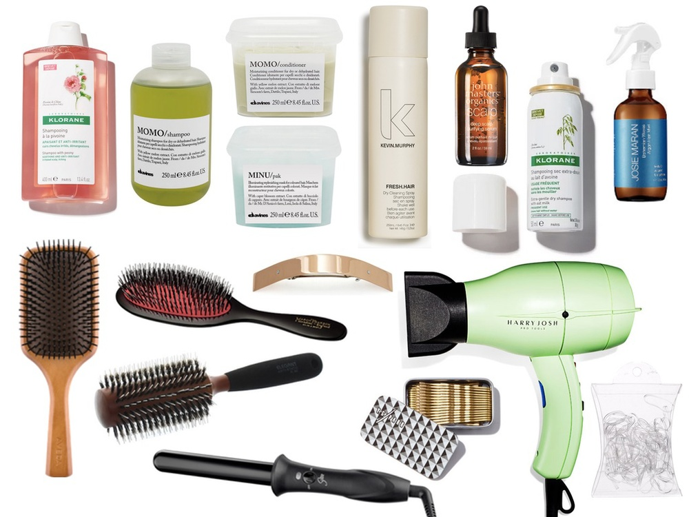 "SCALP SHAMPOO   //   HYDRATING SHAMPOO   //   HYDRATING CONDITIONER   //   REPLENISHING MASK   //   DRY CLEANING SPRAY   //   SCALP SERUM   //   DRY SHAMPOO   //   BOHEMIAN WAVES MIST   //   PADDLE BRUSH   //   NYLON & BOAR BRISTLE BRUSH   //   ROUND BRUSH   //   1"" CURLING WAND   //   GOLD BARRETTE     //   BOBBY PINS     //   PRO DRYER   //   CLEAR ELASTICS"