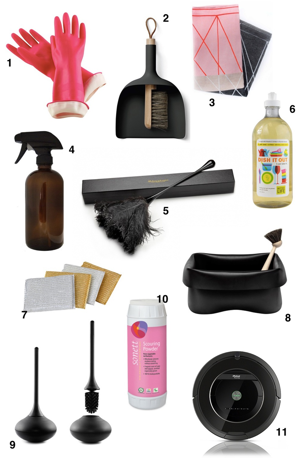 1. CLEANING GLOVES // 2. DUST PAN & BRUSH // 3. DISH TOWEL // 4. SPRAY BOTTLE // 5. FEATHER DUSTER // 6. DISH SOAP // 7. SPONGES // 8. KITCHEN SINK CADDY // 9. TOILET BRUSH // 10. SCOURING POWDER // 11. ROOMBA VACUUM