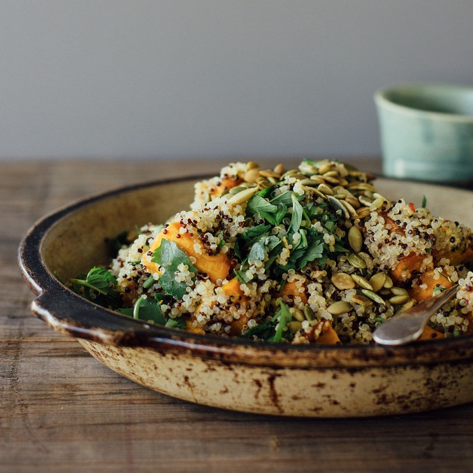 GINGER ROASTED PUMPKIN + QUINOA SALAD