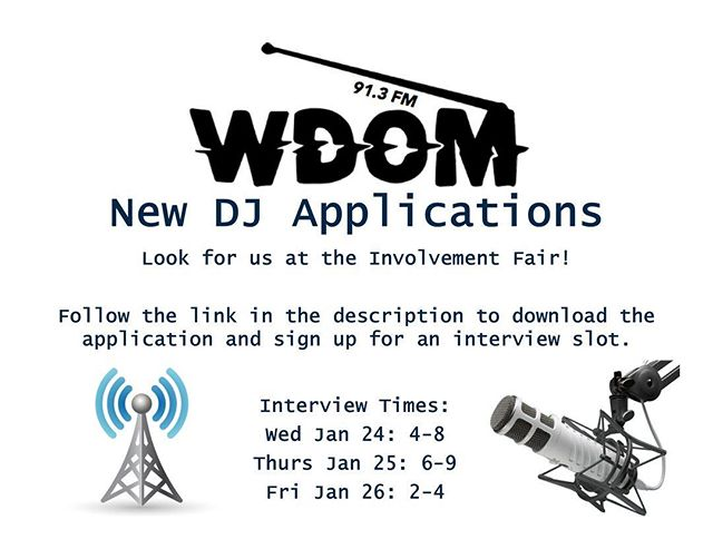 Interviews are coming up! Be sure to fill out an application, get on the sign up sheet, and join us on the airwaves! 🎶Link for applications: https://docs.google.com/document/d/1dnKZ4dSx9EfVSYF2K37m_f-OB_-dJKw3M975GSs-Uds/edit?usp=sharing 🎶Link for sign up: https://docs.google.com/spreadsheets/d/1W-jwKzo4vdOfGXnkpi1zOw0q2bk-a8a9ZGQJAS4PCPM/edit?usp=sharing