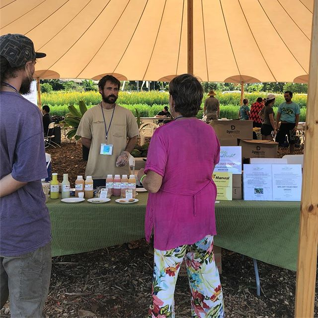 At the @hfuuofficial  convention as a vendor for the weekend in upcountry Kula, Maui sampling our products from #Sattvickitchen along side @islandfreshdelivery promoting island delivered CSA Boxes